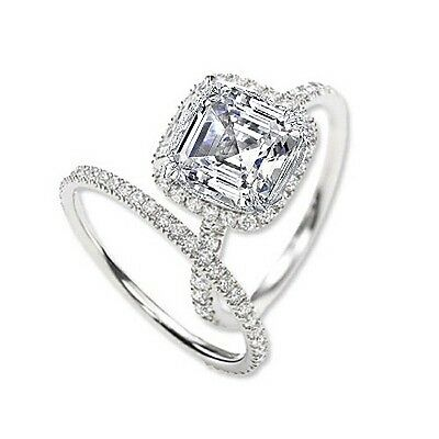 2.40 Ct. Asscher Cut Halo Round Diamond 18K Gold Engagement Ring Set GIA H,VS1
