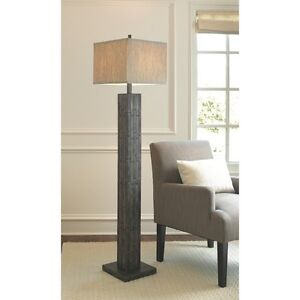 Threshold mosaic wood look floor lamp with square linen for Floor lamp mosaic wood