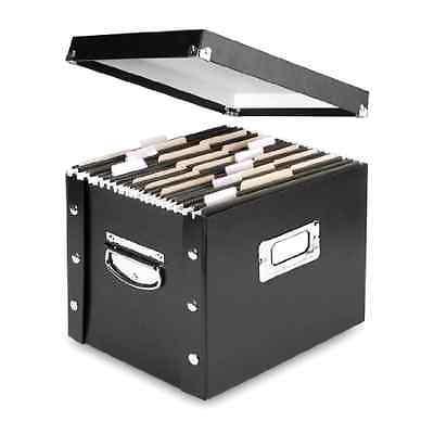 File Box Organizer Storage Filing Case Store Letter Size Office Folder Portable