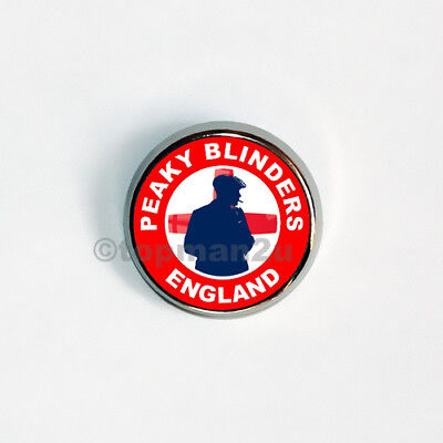 Quality Circular Metal Pin Badge PEAKY BLINDERS ENGLAND, Red, Football World Cup