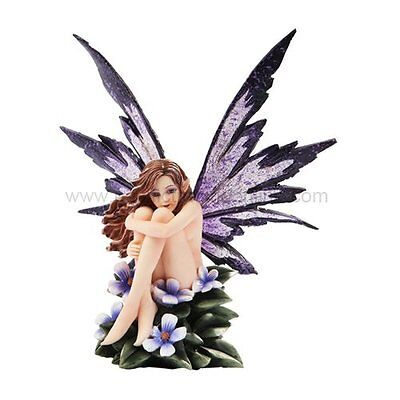 """Amy Brown Fantasy Periwinkle Flower Fairy Statue Enchanted 6""""h Figurine"""