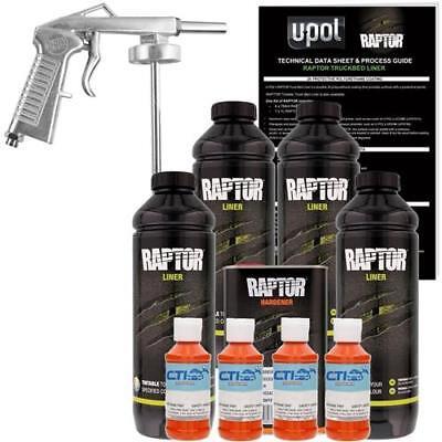 UPOL Raptor Safety Orange Urethane Spray-On Truck Bed Liner W/Free Spray Gun, 4L