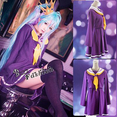 NO GAME NO LIFE Shiro Girl Purple Dress Halloween Anime Cosplay Costume / Wig