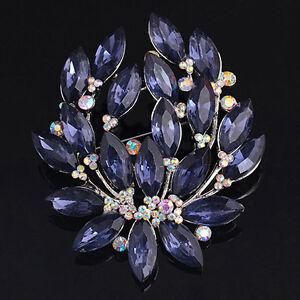 Women' Sapphire Blue Flower Brooch Pin Zircon Glass Alloy Sanwood Nice Jewelry