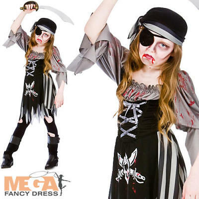 Zombie Ghost Pirate Age 5-13 Girls Halloween Fancy Dress Kids Childs Costume New