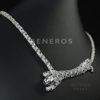 Leopard Body Silver Necklace CZ Animal Cat Statement Jewelry Jaguar Bridal