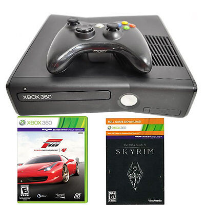 Microsoft Xbox 360 Slim 250GB System Bundle with Skyrim & Forza 4 Games on Rummage