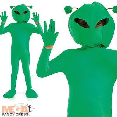 Green Alien Boys Fancy Dress Space Martian Halloween Sci-Fi Kids Costume Outfit  - Green Martian Costume