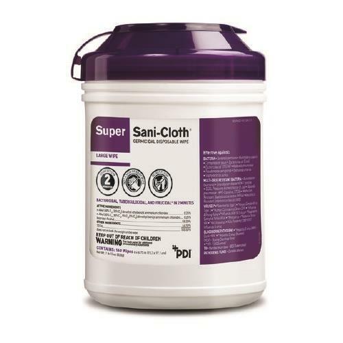 "PDI Q55172 Super Sani-Cloth Surface Disinfectant Large Wipes 6""x6.75"" 160/Pk"