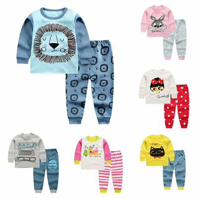 2pcs Kids Baby boys girls clothes top+pants cotton baby pajamas - Baby Girl Holiday Pajamas