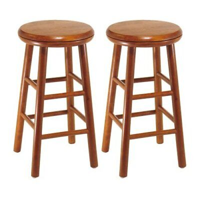 Round Seat Stool 2pc Set 24in Beech Wood Chair Dining Kitchen Furniture Swivel