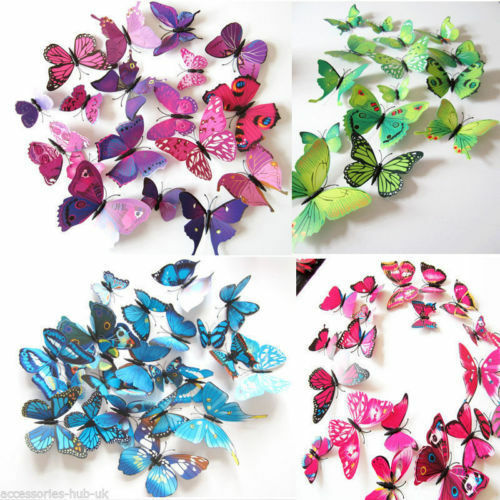 Home Decoration - 12 pcs 3D Butterfly Wall Stickers Colorful Art Decal Room Decorations Decor DIY