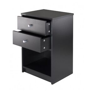Accent table night stand 2 drawer black finish printer stand end table
