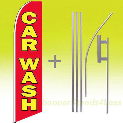 Car Wash Swooper Flag Kit Feather Flutter Banner Sign 15 Tall - Rb