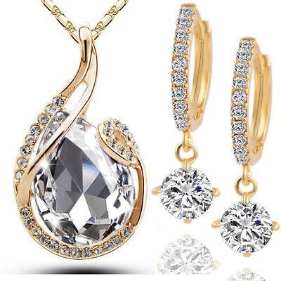 Schmuck Set 4tlg. Kette Anhänger Swarovski® Kristall Creolen Gold Diamant Weiss