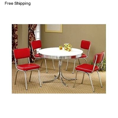 Retro Dining Table 5 Piece Dinette Set Furniture 4 Chairs Vintage Breakfast Nook