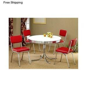 Retro Dining Table 5 Piece Dinette Set Furniture 4 Chairs
