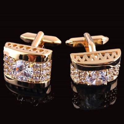 Luxury Gold Crystal Silver Mens Cufflinks Shirt Cuff Links Wedding Party (Wedding Cufflinks)
