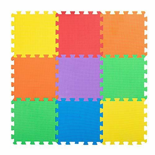 Non-Toxic Extra Thick 9 Piece Children Play & Exercise Mat - 6 Vibrant Colors