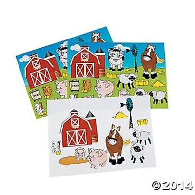 12 Make A Farm Scene Sticker Birthday Party Favors Gifts Kids Crafts (Farm Party Favors)