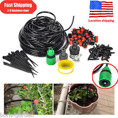25m Dripper DIY Plant Self Watering Garden Hose Micro Drip Irrigation System Kit
