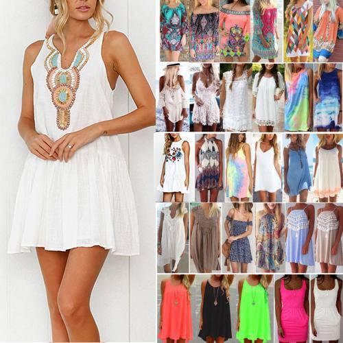 Damen Sommer Kurz Minikleid Sommerkleid Strand Boho Kaftan Bikini Vertuschen