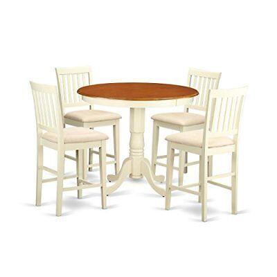 East West Furniture JAVN5-WHI-C 5 Piece Dinette Table and 4 Bar Stools Set