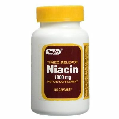Niacin 1000mg Timed Released Tablets ( Rugby ) 100ct = 2 pack ( 200 tabs ) ()