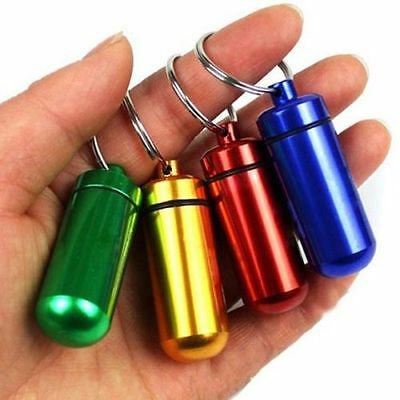 Portable Small Aluminum Waterproof Pill Bottle Cache Drug Container Keychain  Ni