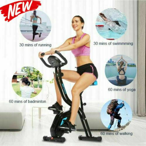 Folding Exercise Bike Upright Recumbent 10 Magnetic Resistan