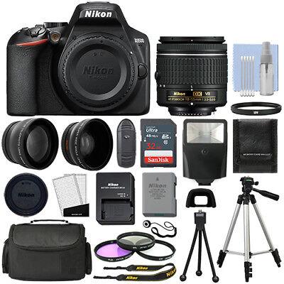 Nikon D3500 Digital SLR Camera Black + 3 Lens: 18-55mm VR Lens + 32GB Bundle