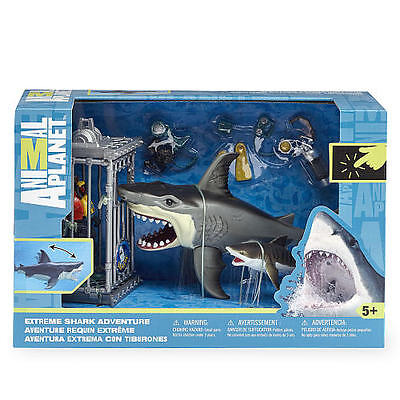 Animal Planet Extreme Shark Adventure Playset Great White Tiger Cage Diver Jaws