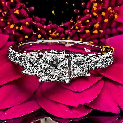 2 CT Diamond Engagement Ring Princess Cut D/VS 14K White Gold Enhanced
