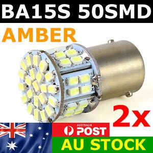 2 x BA15S 50 SMD LED - 1156 Indicator Signal Light Bulb Globe Lamp 12v AMBER
