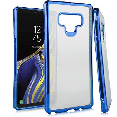 Blue Silicone Skin Case Cover (For Samsung Galaxy Note 9 - Blue Chrome Soft Rubber Silicone TPU Skin Case Cover )