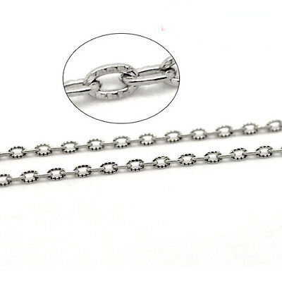 10m x Silver Plated Metal Alloy 3 x 4.5mm Closed Cable Chain CH1310