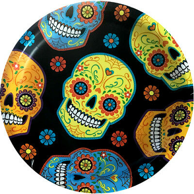 HALLOWEEN Sugar Skull LARGE PAPER PLATES (8) ~ Birthday Party Supplies Dinner - Skull Paper Plates