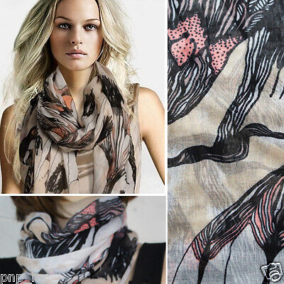 Fashion Beige Floral Abstract Chiffon Women Long Scarf Wrap Shawl Large Scarves