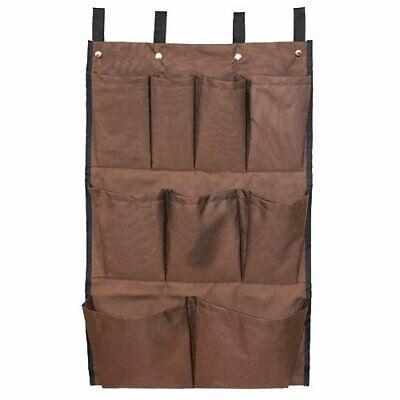Brown Housekeeping Cart Caddy Bag W Nylon Straps 9 Pockets 9-pcs