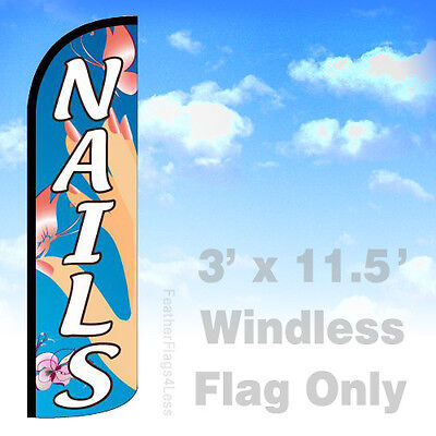 Nails - Windless Swooper Flag Feather Banner Sign 3x11.5 - Bq