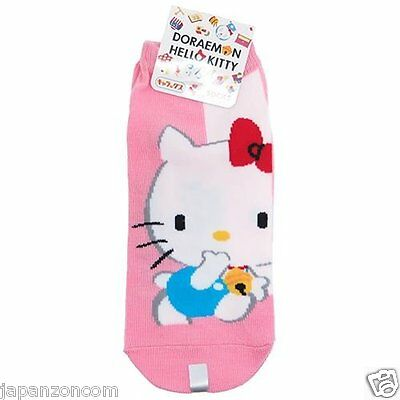DORAEMON x HELLO KITTY SOCKS  CHAUSSETTES  SANRIO JAPANESE SOCKS 22~24cm 36-38,5