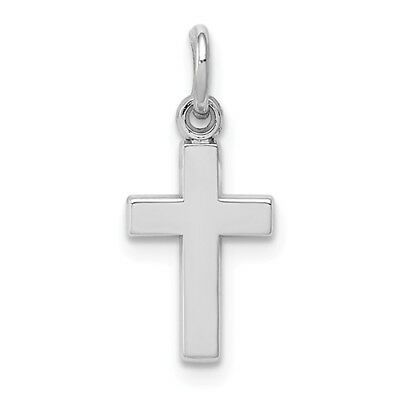 14k White Gold Small Plain Latin Cross Charm Pendant   0.79 - 14k White Gold Charm