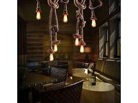 E27 Vintage Rustic Industrial Lamp Antique Hemp Rope Edison Light Bulb Holder