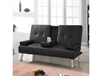 Popamazing Modern Faux Leather 3 Seater Sofa Bed with Fold Down Table Cup Holder