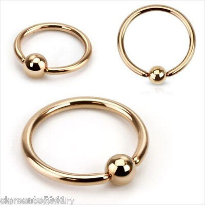 16g Or 14g Rose Gold IP Ion Plating Captive Bead Ring Ear Earring Nipple 1-2 PCS 14g Gold Plate