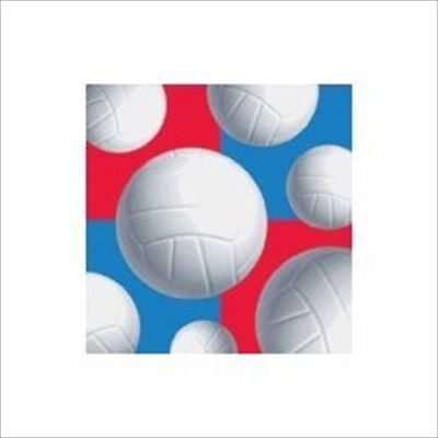 KINS (16) ~ Birthday Party Supplies Beverage Serviettes Blue (Volleyball Birthday Party Supplies)