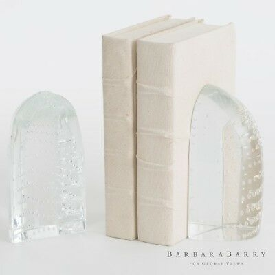 Modern Frosted Glass Block Abstract Bookends | Dew Ice Clear Slab Contemporary