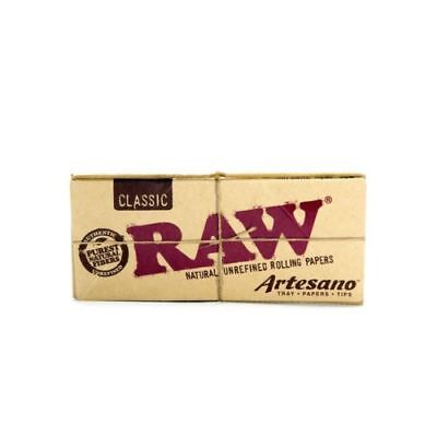 AUTHENTIC RAW Classic Artesano King Size Slim Rolling Paper Tips Tray Natural