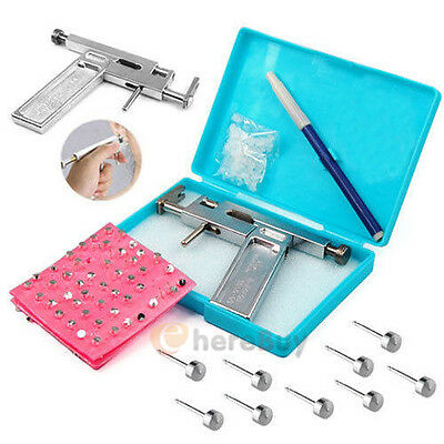 Steel Ear Nose Navel Body Piercing Gun With 98x Studs Tool Kit Set Professional