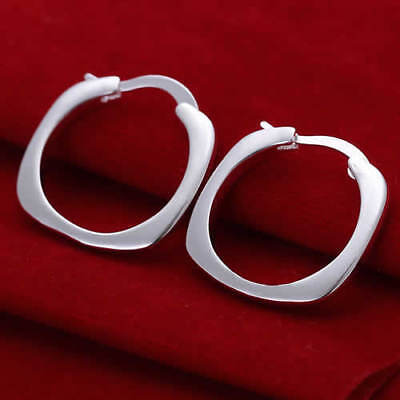 Damen Ohrringe flaches Viereck 925 Sterling Silber plattiert Ohrschmuck Schmuck